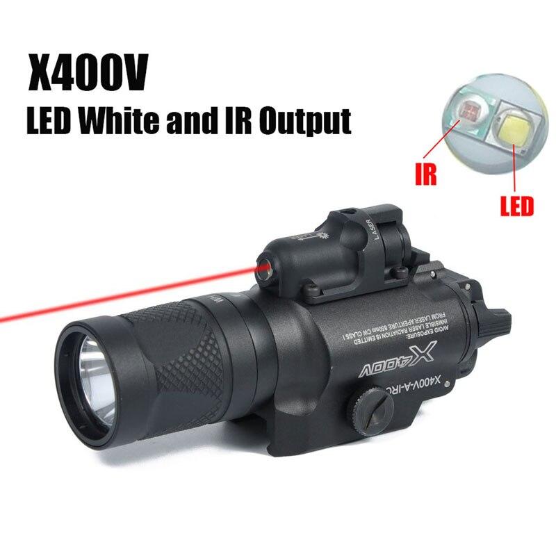 Tactique X400V IR lumière rouge Laser vue Airsoft Arma arme lampe de poche Softair pistolet lampe Glock pistolet lanterne lumières de chasse
