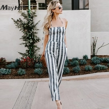 MayHall Stripe Print Bandage Jumpsuits Backless Halter Sleeveless Rompers Womens Jumpsuit Sexy Holiday combinaison femme MH199