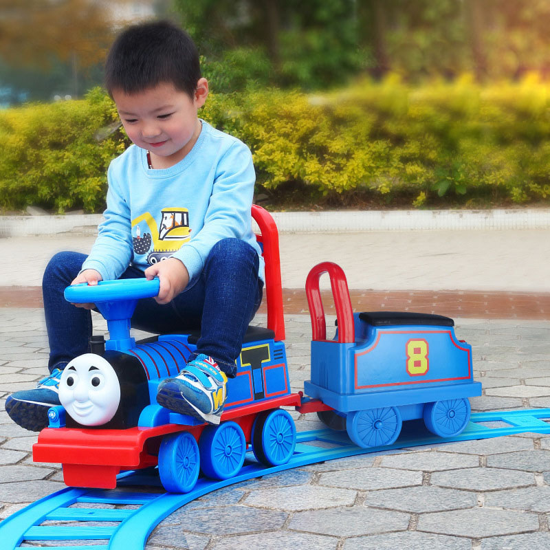 Thomas Electric Train Child Baby Walker Stroller Boys Toy Ride on Train with Railway Electric Ride on Car for Kids Flash Music peppa s car ride
