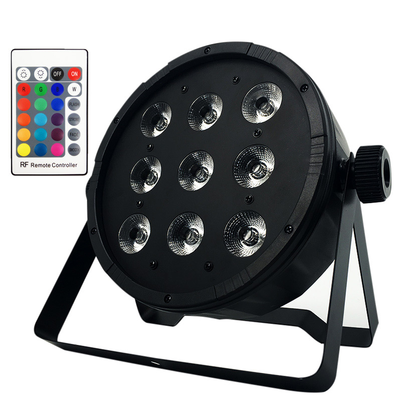 Top-selling Wireless Remote Control 9x12W RGBW 4IN1 Led Flat Par Light,7pcs*12W 4IN1 Flat LED Par Light/DMX Theaters Churches