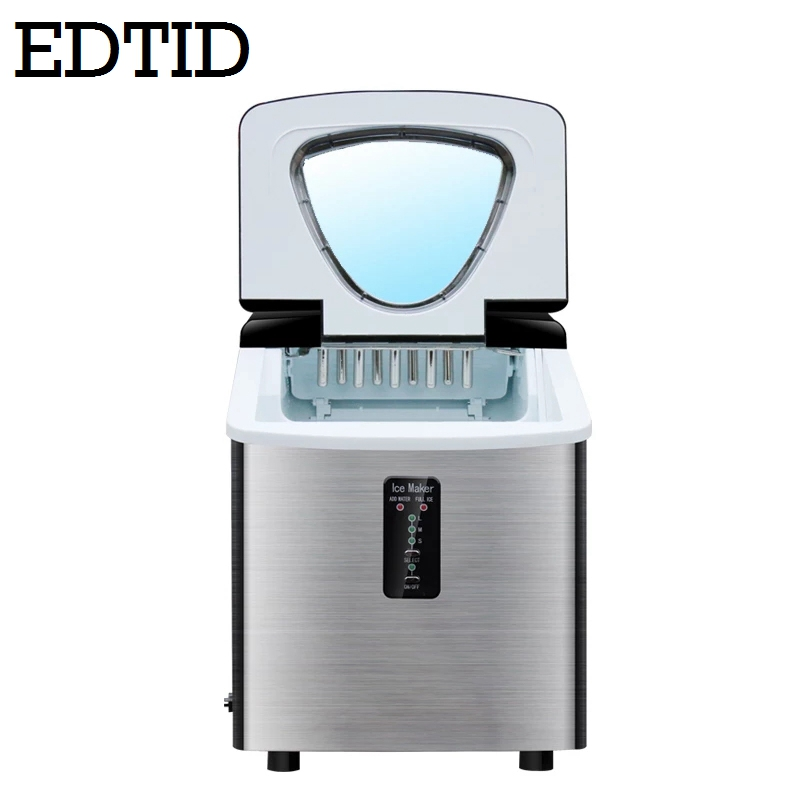 EDTID Automatic Electric Ice Cube Maker 18kg/h Intellient Mini Bullet Round Ice Blocking Making Machine Bar Coffee Milk Tea Shop