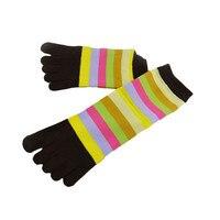 2015 Hot Sale Women Socks Stripe Ventilation Socks Cotton Fiber Meias Five Finger Socks Toe Socks Free Shipping Wholesale