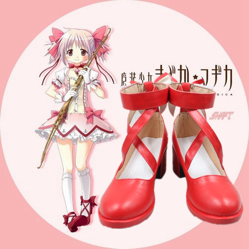 Puella Magi Madoka Shose Magica Cosplay <font><b>Shoes</b></font> Japanese Style Anime <font><b>Red</b></font> <font><b>Lolita</b></font> Bow tie Any Size image