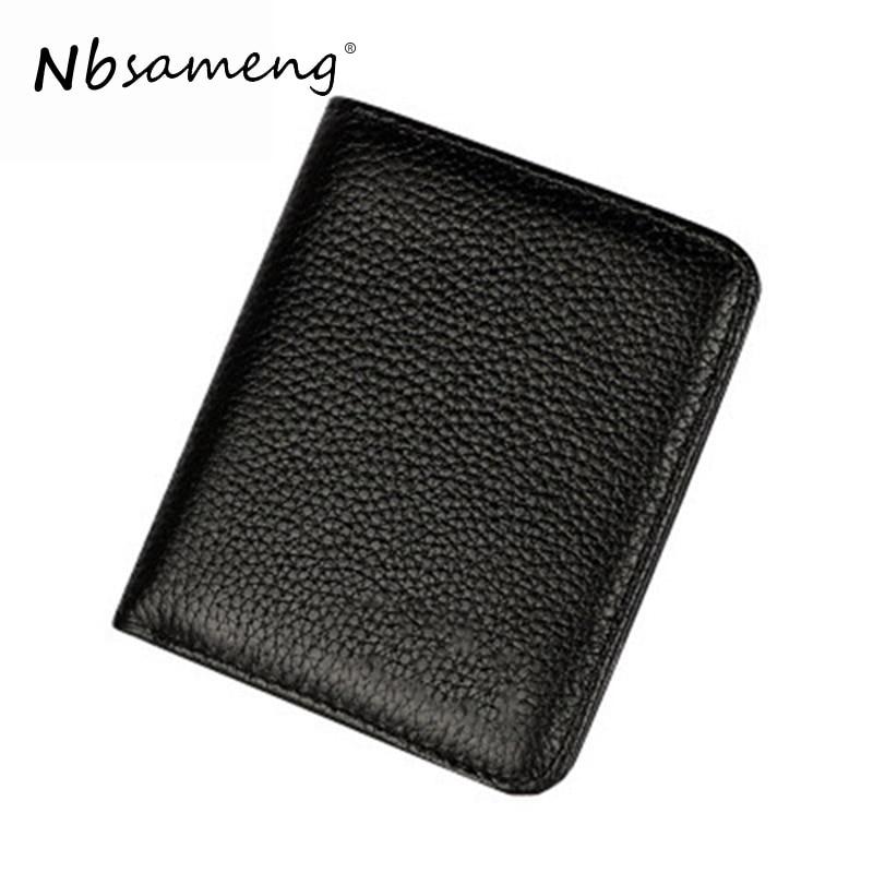 NBSAMENG 2018 New Fashion Genuine Leather Men Slim Purse Small Wallet Men Business Credit Card Holder Money Purse