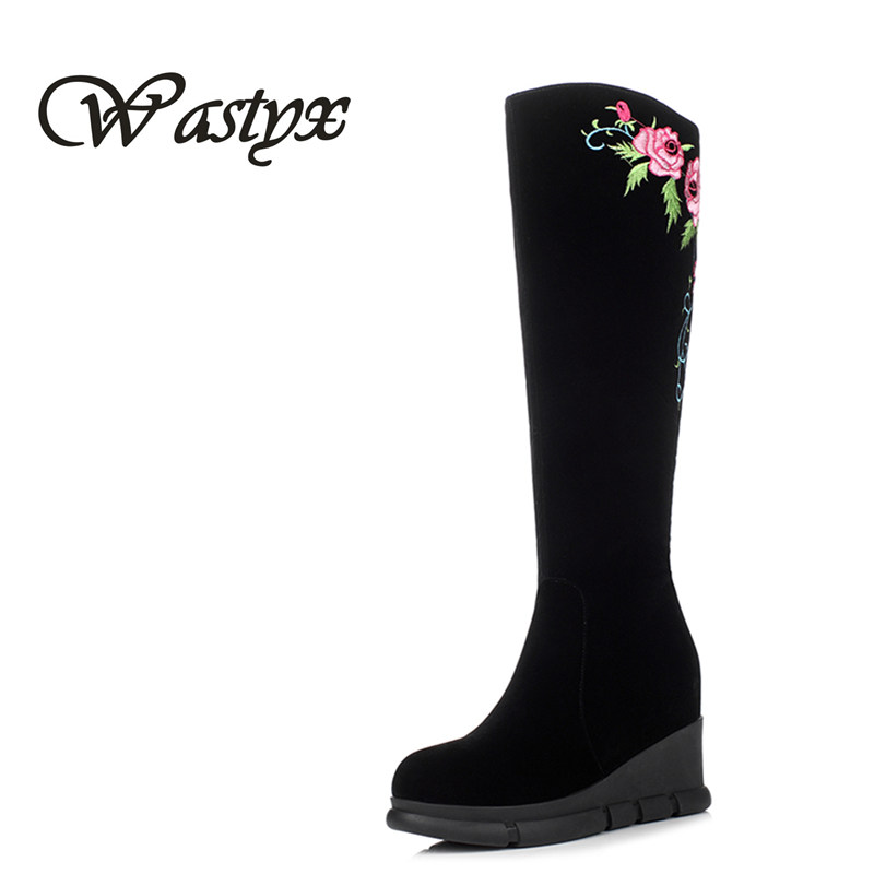 Wastyx new 2017  flock knee high boots fahsion round toe women boots high heels shoes woman platform heel winter ladies shoes wastyx new winter over the knee boots sexy super high women boots thin heel shoes woman fashion round toe sapato feminino 34 48