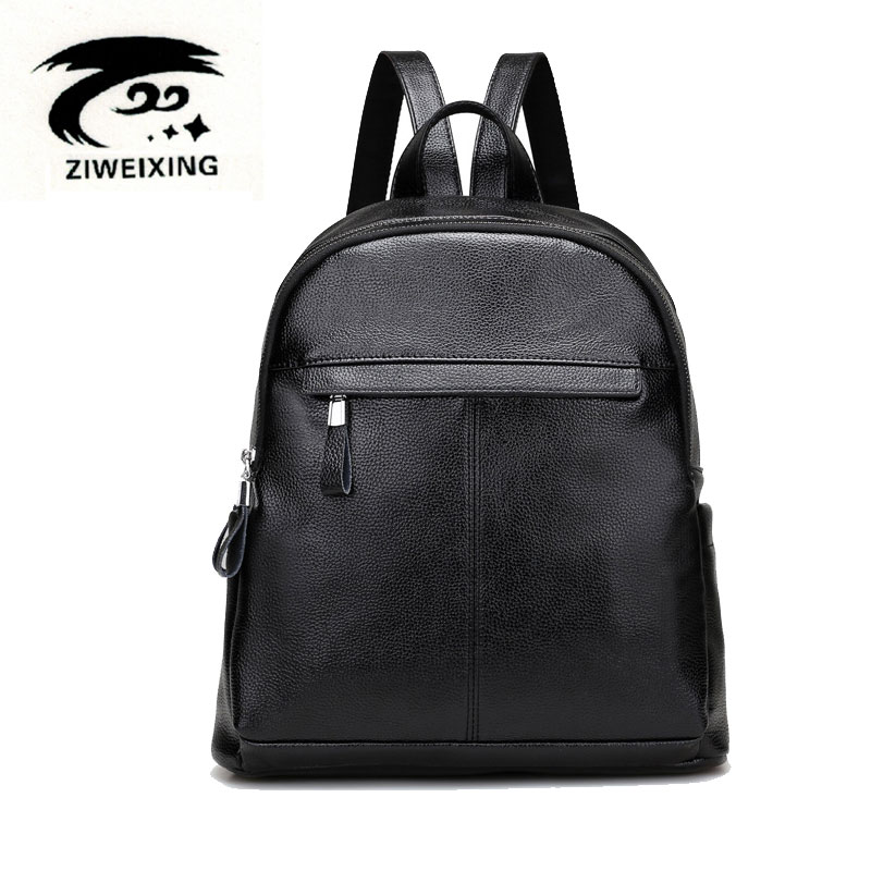ZIWEIXING Black Leather Backpack Women Middle High School Bags For Teenagers Girls Bagpack Bookbags Sac Mochila
