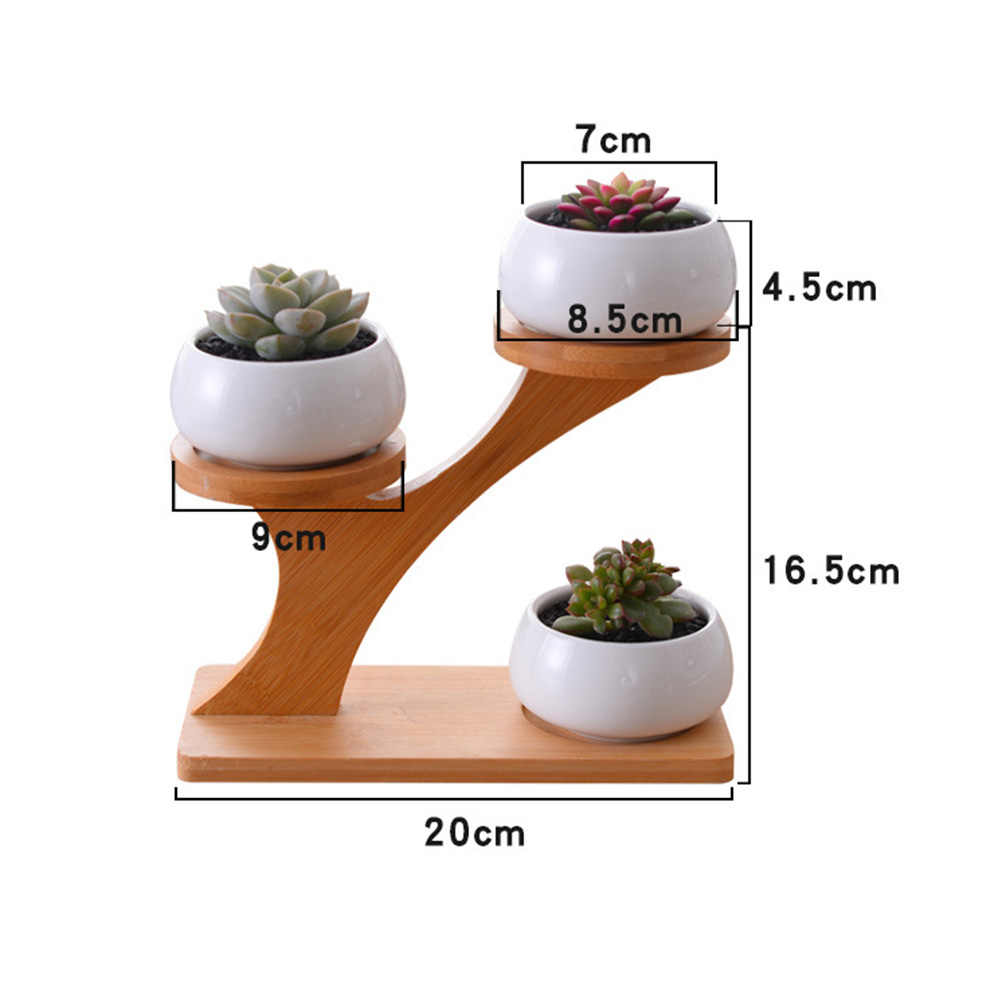 Weiß Keramik Blumentopf 3-Tier Bambus Regal Moderne Minimalistischen Sukkulenten Pflanzen Bonsai Pflanzer Töpfe Garten Decor Frei von Pflanzen