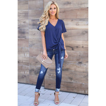 New mid-waist womens jeans casual buttons trousers Slim hole female feet pants was thin large size pencil