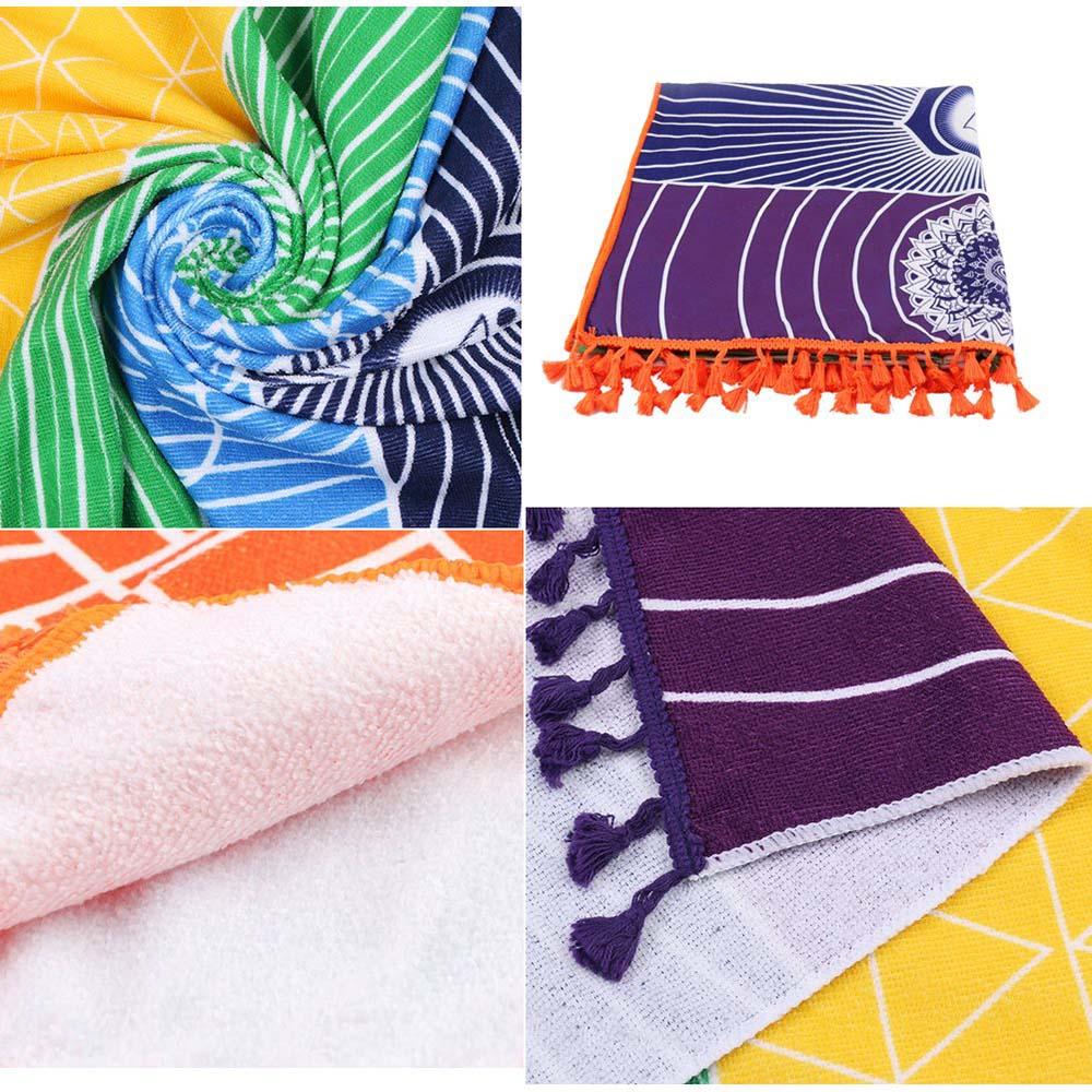 Microfiber Multi Color Print Beach Towel Shawl Yoga Gym Mat Soft Comfy 150*70cm