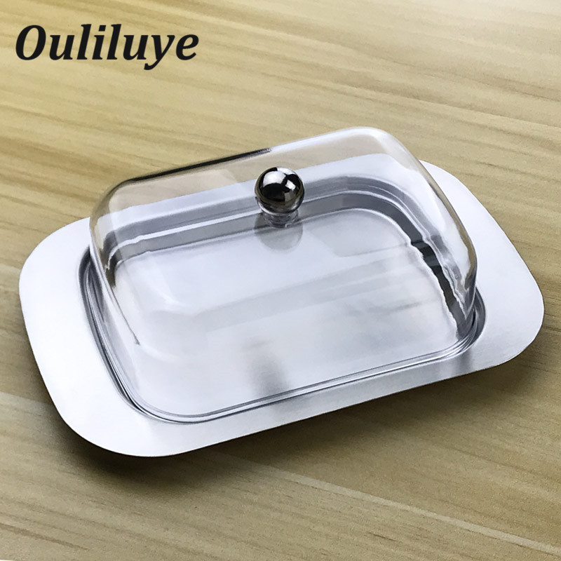 Butter Dish Box Container Cheese Server Storage Keeper Tray With See-through Acrylic Lid Stainless Steel Dish For Cheese Board