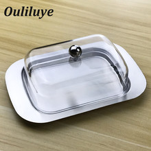 Butter Dish Box Container Cheese Server Storage Keeper Tray with See-through Acrylic Lid Stainless Steel For Board