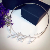 Designer Fashion 925 Sterling Silver Jewelry 3A Cubic Zirconia Collar Necklace