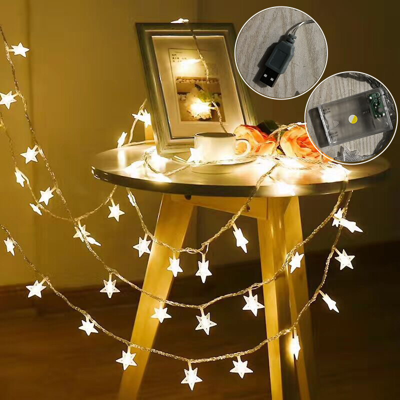 Beautiful Led Stars Holiday Lights String Battery Powered Fairy Lights Christmas New Year Holiday Decoration Light(No Battery)