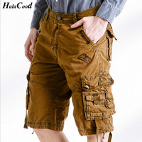 HALACOOD Fashion Sexy Quality New Summer Calf Length Cargo Mens Cotton Shorts Multi Pocket Solid Male