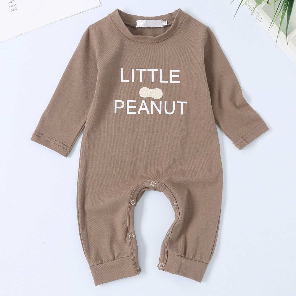 594be284a0e7 Newborn Bebes Rompers Brown Letter Print Toddler Infant Boys One ...