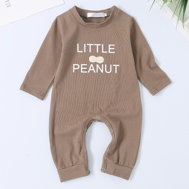 c3563ade3efc Newborn Bebes Rompers Brown Letter Print Toddler Infant Boys One Piece  Jumpsuit Outfits Long Sleeve Children