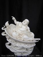 Exquisite Chinese Dehua white porcelain happy Buddha Laughing Buddha Sitting on Big Fan Auspicious Statue