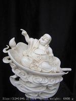 Exquisite Chinese Dehua white porcelain happy Buddha Laughing Buddha Sitting on Big Fan Auspicious Statue