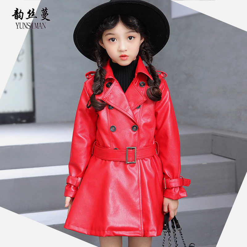 Children wear autumn 2018 kids long black jacket coat for girls 7 8 9 10 11 12 years double breasted long PU leather coat 8A24A stylish lapel long sleeve double breasted plus size coat for women