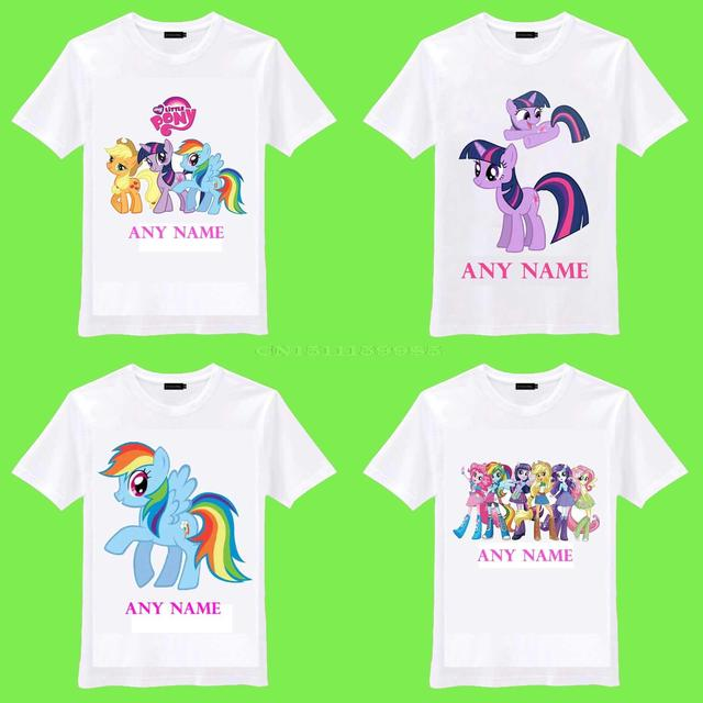 Free Shipping 2015 New My Little Pony Rainbow Dash Personalized Name Kids Birthday Love Gift O Neck Camiseta Unisex T Shirt