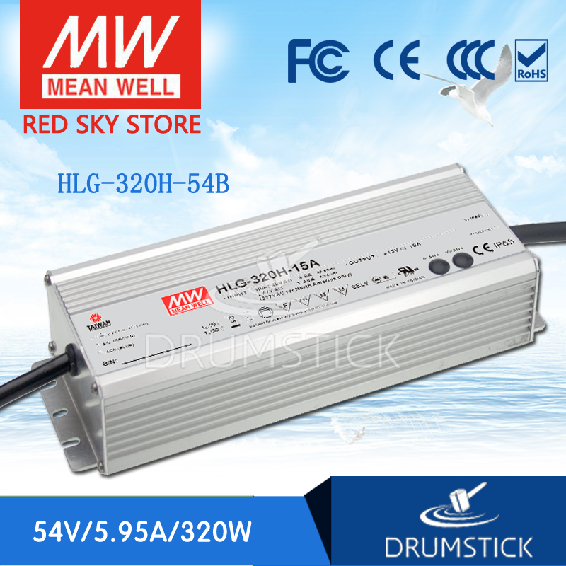 Genuine MEAN WELL HLG-320H-54B 54V 5.95A meanwell HLG-320H 54V 321.3W Single Output LED Driver Power Supply B type genuine mean well hlg 320h 36b 36v 8 9a hlg 320h 36v 320 4w single output led driver power supply b type