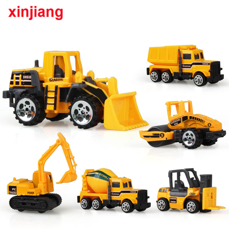 6PCS Mini Alloy Excavator Car Model Toy Dump Truck Engineering Toy Vehicles Forklift Road Construction Truck Car Gift For Kids }