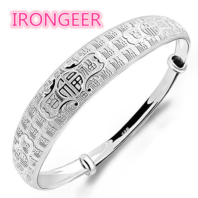 Wkoud Authentic S990 Sterling Silver hundred blessing word adjustable bracelet Bracelets & bangles for women Free shipping classic english word heart moon bracelet for women