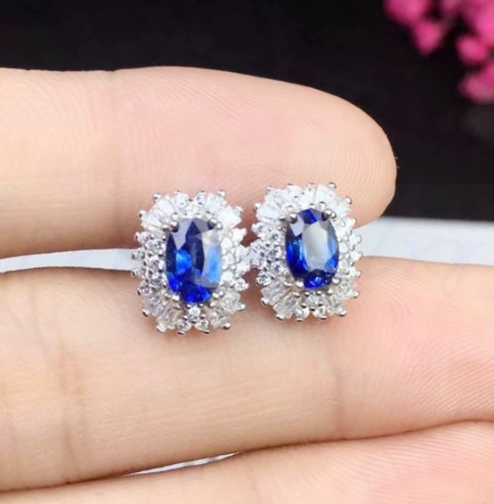 2ea41aeba Natural sapphire stud earring Free shipping Natural real sapphire 925  sterling silver 0.6ct*2pcs gemstone #SB18092412