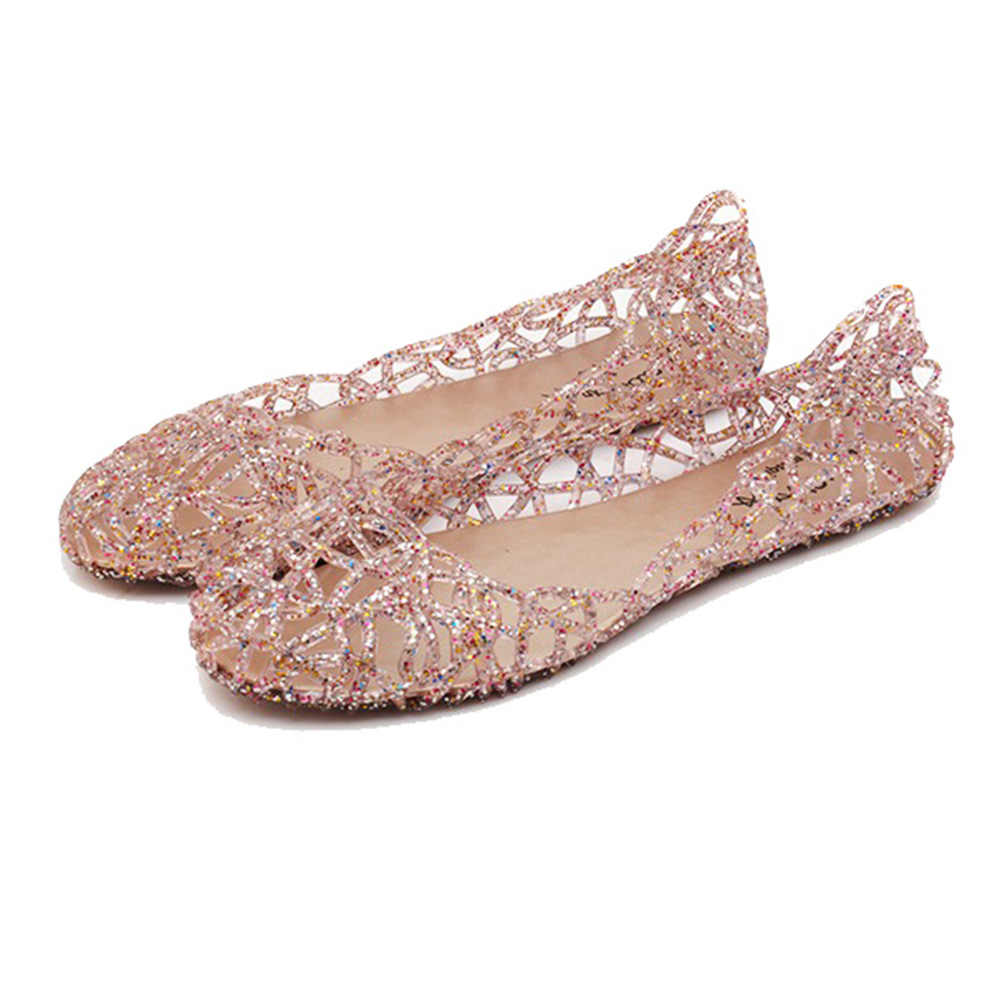 f9b181df3064 ... Women Flats Hollow Out Transparent Jelly Shoes Ballet Flats Casual shoes  slip on Loafers summer beach ...