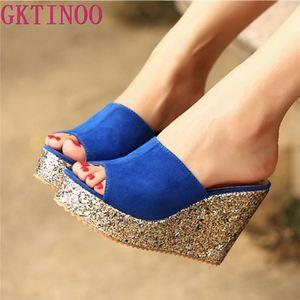 Image 1 - 2020 패션 Sequins 높은 뒤꿈치 슬리퍼 여성 여름 신발 스웨이드 플랫폼 샌들 숙 녀 웨지 샌들 플립 퍼