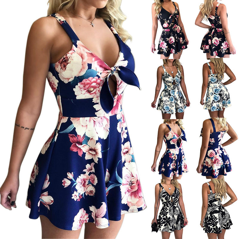 Beach Rompers Short Playsuit Floral-Overalls Print Backless Bohemian Sexy Casual Summe