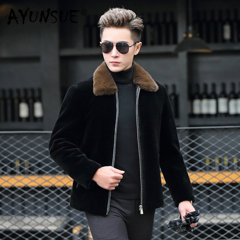 AYUNSUE Winter Warm Duck Down Coat 2019 Lamb Fur Jacket Real Fur Coats Natural Mink Collar Jacket Veste Homme 1815 YY325