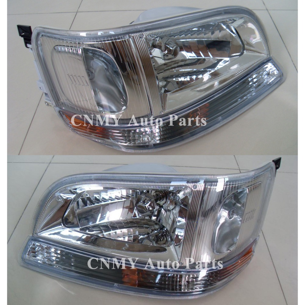Full Set Crystal Chrome Headlights+Turn Signal Parking lights for 1996 97 98 99 Toyota Hiace