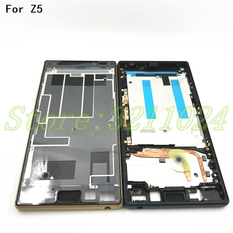For Sony Xperia Z5 Dual E6653 E6603 E6633 E6683 Housing Middle Bezel Plate LCD Frame Chassis With Power Button Dust Plug Cover