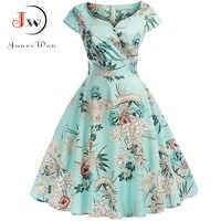 V-Neck Big Swing Vintage Christmas Dress Women Summer 50s Elegant Party Dresses Casual Short Sleeve Floral Plus Size Dress