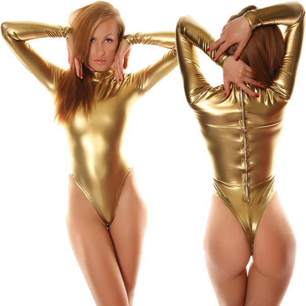 Free Shipping Sexy Fancy Dress Adult Gold Long Sleeve Shiny Metallic Unitard Zentai Suit For Halloween Party Leotard Bodysuit