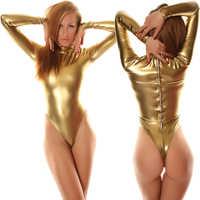 Gratis Verzending Sexy Fancy Dress Volwassen Goud Lange Mouwen Shiny Metallic Unitard Zentai Suit Voor Halloween Party Turnpakje Bodysuit
