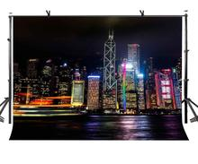 7x5ft City Night Backdrop Hong Kong Victoria Harbor Photography Background and Studio Props
