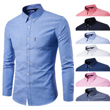 Men Clothes Fashion Men Long Sleeve Shirt Solid Business Casual Slim Fit Turn Down Collar Shirts