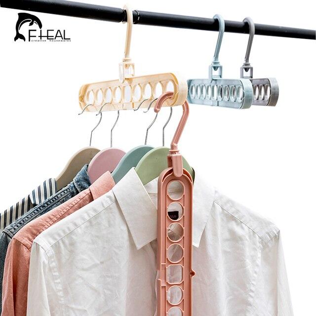 FHEAL 9 Holes Magic Hanger Storage Rack Adjustable Anti Slip Hanger Hooks  Closet Tie Scarf