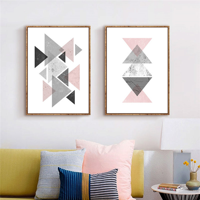 Us 7 13 49 Off Geometric Triangles Home Decoration Abstract Canvas Painting Wall Art Picture Wall Poster And Print Picture Home Decoration In