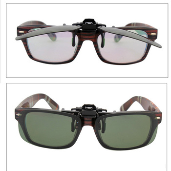 LANBO Polarized Sun Glasses Clip On Sunglasses  Driving Night Vision Lenses Plastic Case Anti-UVA Shades For Women Men 0103