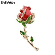 Wuli&baby Rhinestone Enamel Red Rose Brooches For Women Alloy Flower Weddings Banquet Party Brooches Valentine Day Gifts