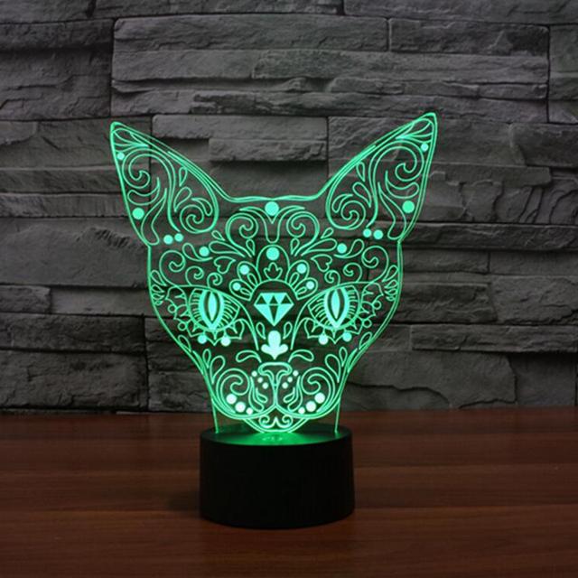 Hot 3D Totem Gato Color Cambiable LED Lamparita 3D Acrílico Botón táctil Lámpara de Mesa para la Decoración Del Hogar Dormitorio Niño de La Novedad iluminación
