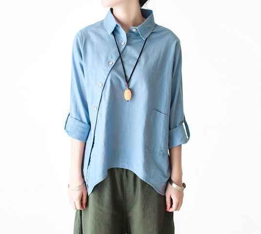 fbf540323b5 ... Новый осенний длинный рукав отложной воротник простой свободный  Национальный Ветер косой разрез Асимметричная рубашка блузка mori ...