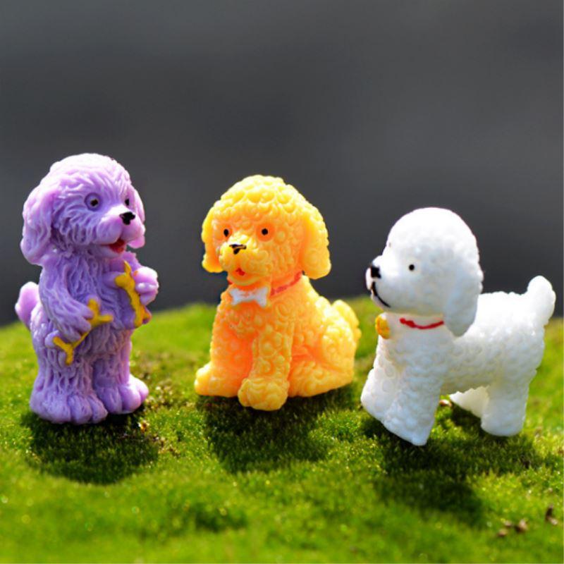 unids mini resina perro color al azar figuras micro de jardinera decoracin para el jardn