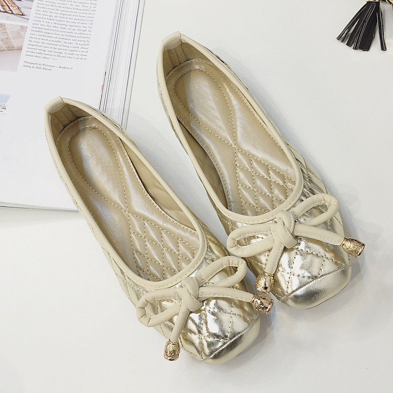 Fashion Gold Black Soft Leather Square Toe Bowtie Women's Ballet Flats Shoes Spring Autumn Ladies Flats Single Shoes Plus Size plus size 34 41 black khaki lace bow flats shoes for womens ds219 fashion round toe bowtie sweet spring summer fall flats shoes