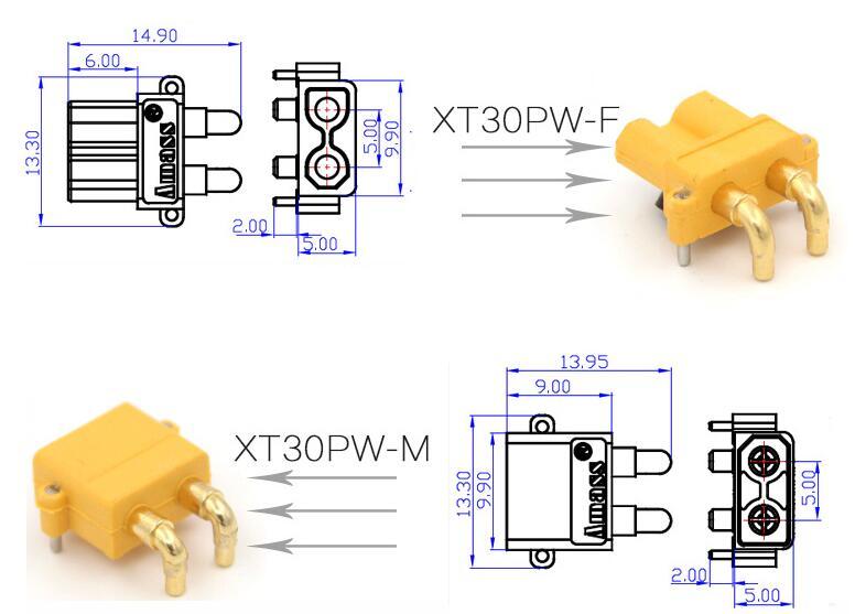 100 x AMASS XT30PW банан Золотой XT30 обновление правый угол разъем мужской женский ESC Мотор печатной платы разъем подключения(50 пар