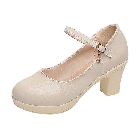 Rimocy Black High Heel 6cm Office Shoes Woman Platform Chunky Heels Ankle Strap Pumps Women Thick Bottom Non-slip Ladies Shoes Multan