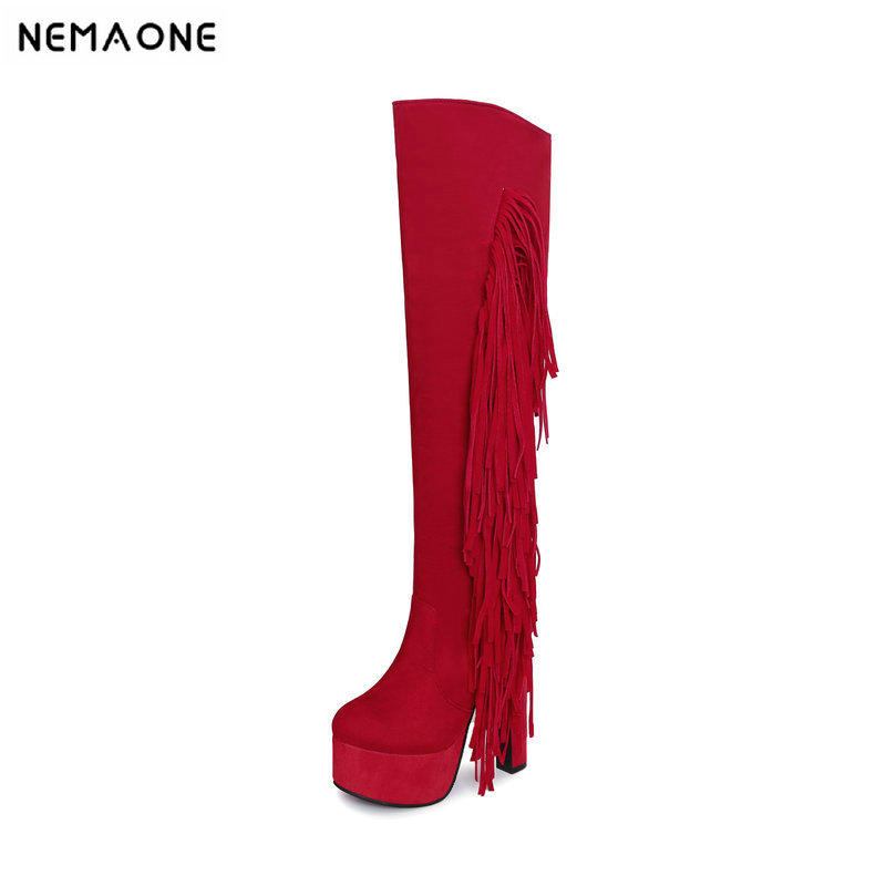 NEMAONE 15cm super high heels fringe knee high boots woman black red gray apricot women party shoes women boots large size 43 2019 spring autumn sweet knee high 9cm super high heel women boots thin women shoes party shoes it s green apricot and red